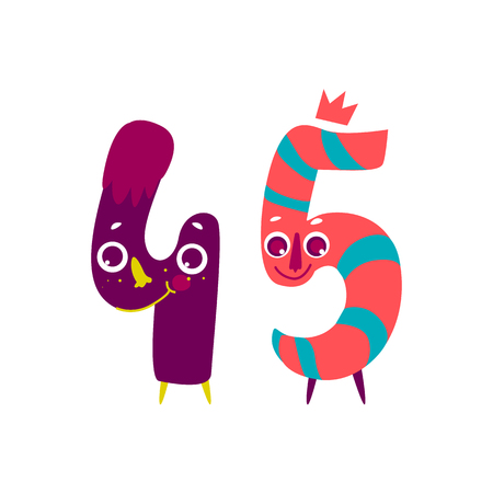 Vector cute animallike character number forty five. Flat cartoon illustration on a white background. Happy birthday, new year decorative numbers. Funny smiling colored math, education symbols