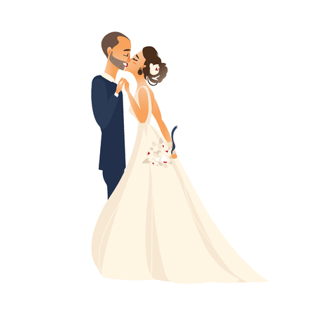 vector groom and bride newlywed couple kissing each other flat cartoon illustration isolated on a white background. Wedding concept character design