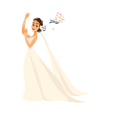 vector pride throwing her bouquet flat cartoon illustration isolated on a white background. Wedding concept character design