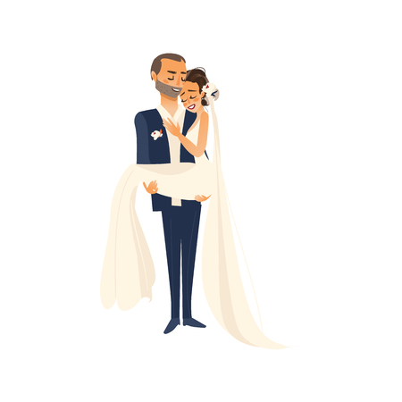 wedding couple: vector groom groom carrying bride holding her in his arms flat cartoon illustration isolated on a white background. Wedding concept character design Illustration
