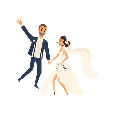 wedding couple: vector groom and bride newlywed couple dancing happily each other flat cartoon illustration isolated on a white background. Wedding concept character design Illustration