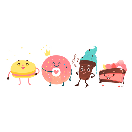 Vector sweet humanized character set. Donut in gold crown, macaroon, chocolate cake and cupcake with arms and legs. Flat cartoon isolated illustration on a white background. Funny smiley dessert Illustration