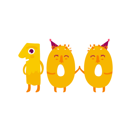 Vector cute animallike character number hundred 100. Flat cartoon illustration on a white background. Happy birthday, new year decorative numbers. Funny smiling colored math, education symbols Reklamní fotografie - 83493855