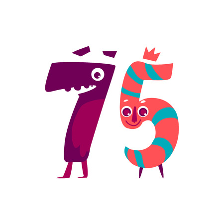 Vector cute animallike character number seventy five 75. Flat cartoon illustration on a white background. Happy birthday, new year decorative numbers. Funny smiling colored math, education symbols