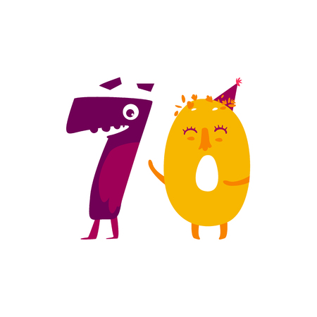 Vector cute animallike character number. Flat cartoon illustration on a white background. Happy birthday, new year decorative numbers. Funny smiling colored math, education symbols