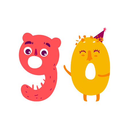 Vector cute animallike character number ninety 90. Flat cartoon illustration on a white background. Happy birthday, new year decorative numbers. Funny smiling colored math, education symbols Ilustrace