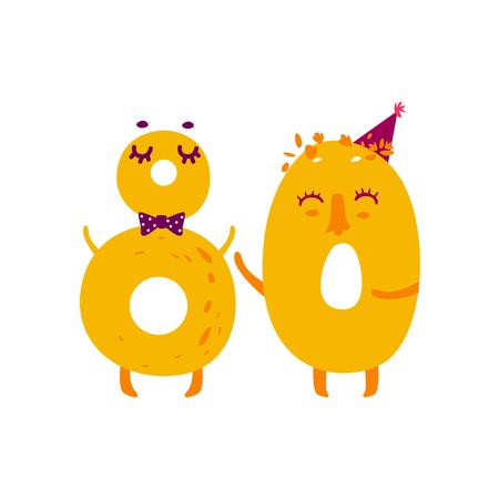 Vector leuke animallike teken nummer 80 tachtig. Platte cartoon afbeelding op een witte achtergrond. Gelukkige verjaardag, nieuwe jaar decoratieve nummers. Grappige lachende gekleurde wiskunde, onderwijs symbolen Stock Illustratie