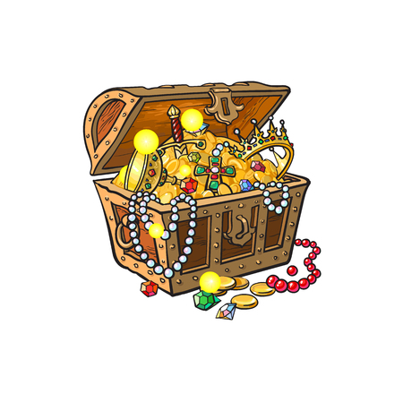 opened wooden treasure chest full of golden coins, gems jewelry. Isolated illustration on a white background.