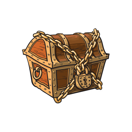 vector closed locked chained wooden treasure chest. Isolated illustration on a white background. Flat cartoon symbol of adventure, pirates, risk profit and wealth. Vettoriali