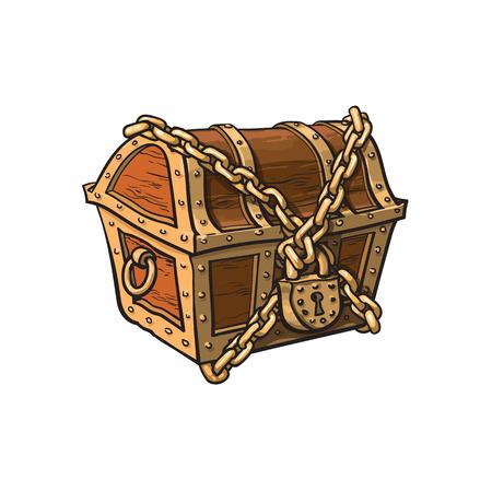 wektor zamknięty, zamknięty, przykuty, drewniana skrzynia skarbów. Na białym tle ilustracja na białym tle. Płaski symbol kreskówka przygody, piratów, ryzyka, zysku i bogactwa.