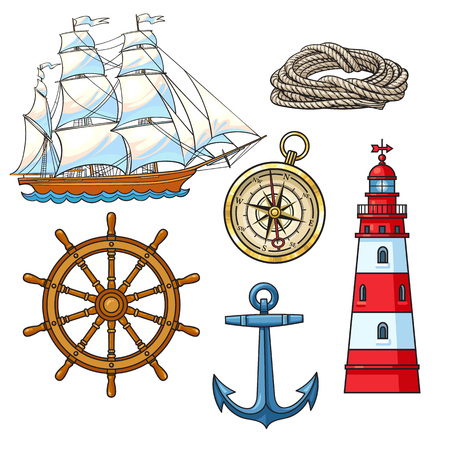 Set of cartoon nautical elements - lighthouse, anchor, compass, ship, rope, steering wheel, vector illustration isolated on white background. Nautical elements - sailboat, lighthouse, anchor, rope