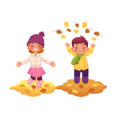 vector girl, boy children wearing autumn clothing, rubber boots rejoice, playing with autumn leaves. cartoon isolated illustration on a white background. Autumn activity kids concept