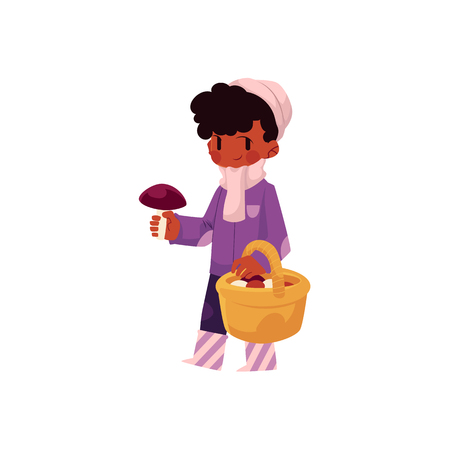 vector girl child wearing coat, rubber boots keeping basket in her hand collecting mushrooms. cartoon isolated illustration on a white background. Autumn activity kids concept Stockfoto - 128168845