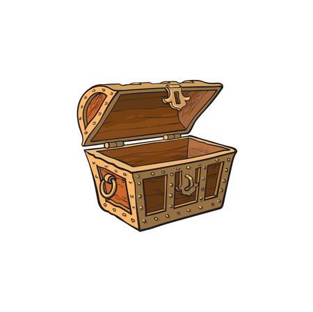 Vector abrió el cofre del tesoro de madera vacío. Ilustración aislada en un fondo blanco. Símbolo de dibujos animados plana de aventura, piratas, riesgo beneficio y riqueza.