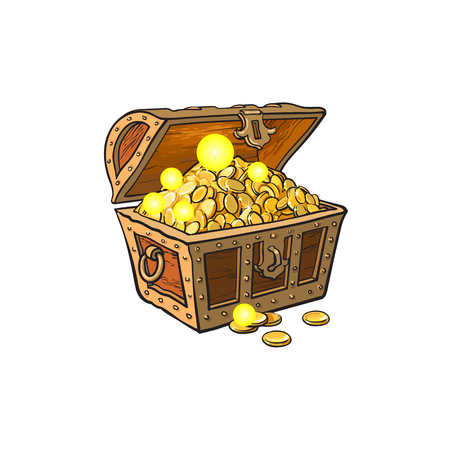 geopende houten schatkist vol met gouden munten. Geïsoleerde illustratie op een witte achtergrond. Stock Illustratie