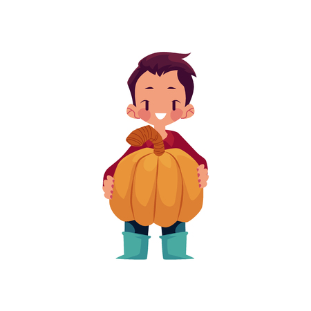 vector boy child wearing rubber boots stands smiling keeping big pumpkin in hands. cartoon isolated illustration on a white background. Autumn activity kids concept