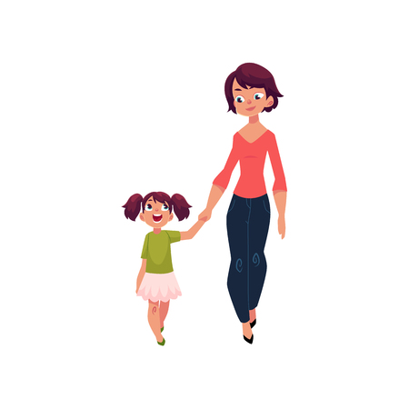 Madre e hija, niña caminando con su madre, tomados de la mano y hablando, ilustración vectorial de dibujos animados aislado sobre fondo blanco. Dibujos animados niña caminando con su madre, madre e hija