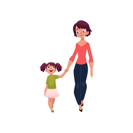 Moeder en dochter, klein meisje lopen met haar moeder, hand in hand en praten, cartoon vectorillustratie geïsoleerd op een witte achtergrond. Beeldverhaalmeisje die met haar mamma, moeder en dochter lopen