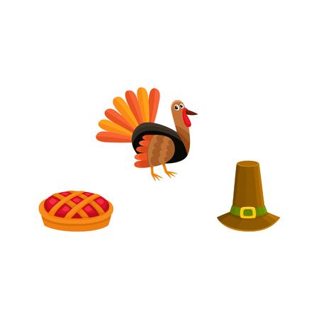Set of thanksgiving symbols - turkey, pumpkin pie and pilgrim hat, cartoon style vector illustration isolated on white background. Cartoon set of thanksgiving symbols - turkey, pie and pilgrim hat Illustration