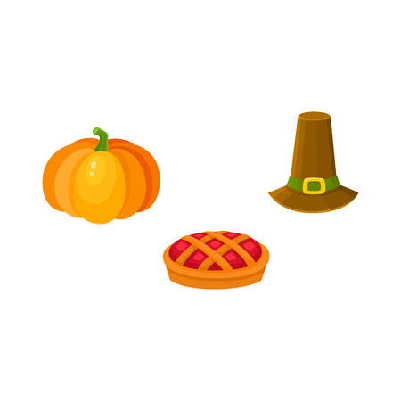Set of thanksgiving symbols - pumpkin, fruit pie and pilgrim hat, cartoon style vector illustration isolated on white background. Cartoon set of thanksgiving symbols - pumpkin, pie and pilgrim hat Illustration