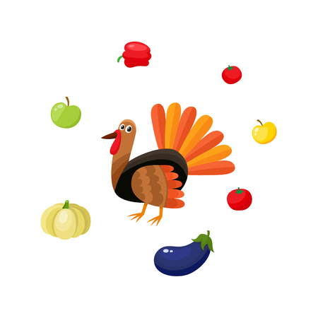 Cute farm hen turkey surrounded by ripe apples and vegetables, cartoon vector illustration isolated on white background. Cartoon turkey and vegetables, Thanksgiving Day food