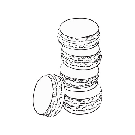 black and white stack of macaron, macaroon almond cakes, sketch style vector illustration isolated on white background. Stack, pile of almond macaron, biscuits, sweet and beautiful dessert Illustration