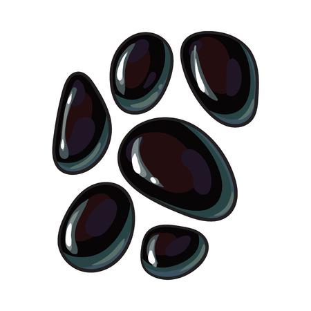 마사지, 스파 살롱 액세서리, 흰색 배경에 스케치 스타일 벡터 일러스트 레이 션에 대 한 반짝이 검은 현무암 돌의 집합입니다. 스파 살롱에서 뜨거운  일러스트