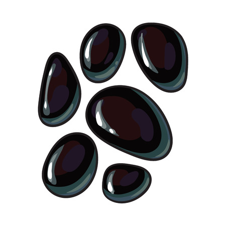 Set of shiny black basalt stones for massage, spa salon accessory, sketch style vector illustration on white background. Realistic hand drawing of basalt stones for hot stone massage in spa salon