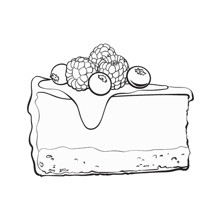 black and white hand drawn piece of cheesecake decorated with fresh berries, sketch style vector illustration isolated on background. Realistic hand drawing of piece, slice of cheesecake, cheese cake Illustration