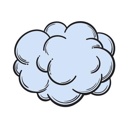 손으로 그린 안개, 연기 구름, 만화 스타일 스케치 벡터 일러스트 레이 션 흰색 배경에 고립. 연기, 구름, 안개, 만화 스타일 디자인 요소의 손을 그리기