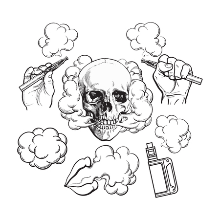 Vaping related elements, symbols - smoke, skull, vaporizer, e-cigarette, black and white sketch vector illustration isolated on background.