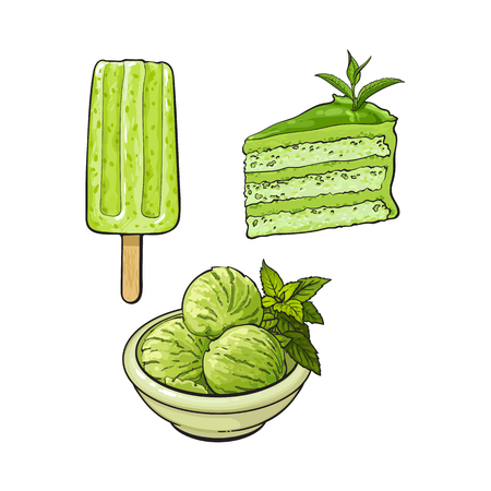 Hand drawn set of matcha green tea desserts - ice cream, cake and popsicle, sketch vector illustration isolated on white background. Hand drawn matcha tea ice cream, popsicle, layered cake