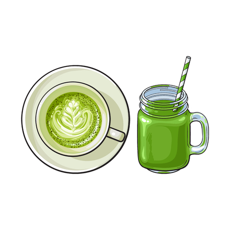 Hand drawn matcha green tea drinks - latte, cappuccino cup and cocktail, smoothie jar, sketch vector illustration isolated on white background. Hand drawn cup of matcha tea drinks - latte and smoothie Illustration