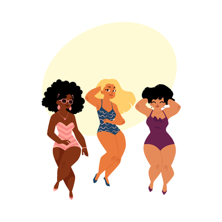 plump, curvy women, girls, plus size models in swimming suits, top view cartoon vector illustration with space for text. Beautiful plump, overweight women, girls in swimming suits Illustration