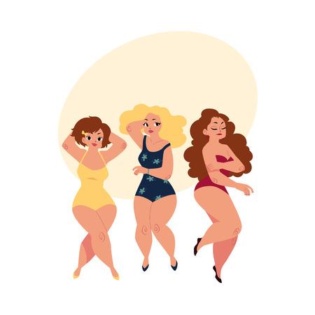 Mujeres regordetas, curvas, niñas, más modelos de tamaño en trajes de baño, vista superior ilustración vectorial de dibujos animados con espacio para texto. Hermosas mujeres regordetas, con sobrepeso, chicas en trajes de baño Foto de archivo - 83552993