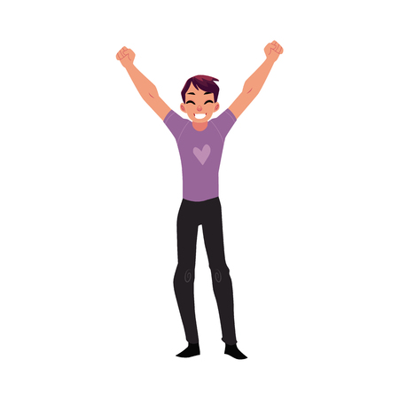 Young man, boy, guy, rejoicing, cheering, jumping in happiness and excitement, cartoon vector illustration isolated on white background. Full length portrait of happy rejoicing young man