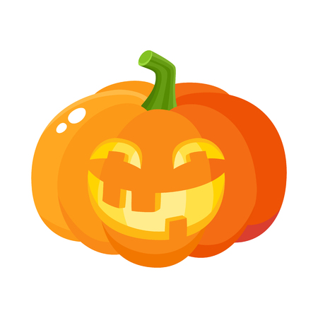 Laughing, happy pumpkin jack-o-lantern with funny teeth, Halloween symbol, cartoon vector illustration isolated on white background. Pumpkin lantern with smiling, laughing face, Halloween decoration Illustration