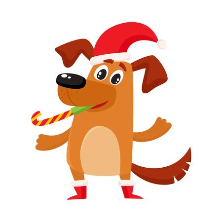 Cane divertente marrone sveglio, carattere del cucciolo in cappello e stivali di Natale, illustrazione di vettore del fumetto isolata su fondo bianco. Cane divertente, personaggio cucciolo in cappello di Natale e stivali, simbolo, avatar Archivio Fotografico - 83553048