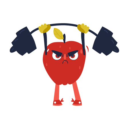 Funny apple character working out in gym, lifting barbell, comic, cartoon vector illustration isolated on white background. Funny serious red apple character, sportsman lifting barbell, bodybuilding Illusztráció