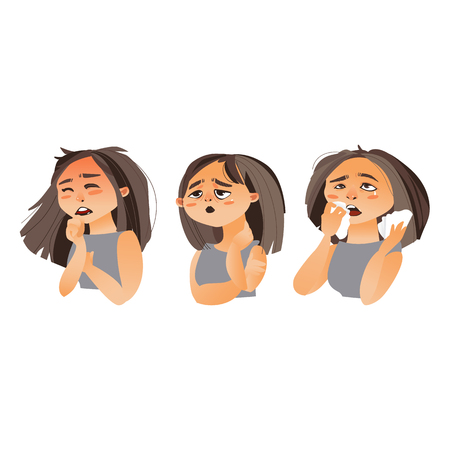 Woman having flu symptoms - fatigue, runny nose, cough, cartoon vector illustration isolated on white background. Portrait of girl, woman with flu, influenza symptoms, fatigue, rhinitis, cough Ilustração