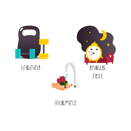 Vector healthy lifestyle concept flat isolated illustration on a white background. Healthy natural eating with nutrients and vitamins, enough rest and healthy sleeping and training and exercises