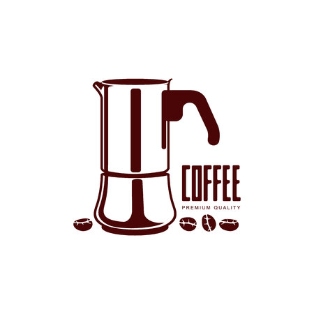 Vector coffee concept flat icon. Coffee kettle line icon illustration isolated on a white background. Фото со стока - 83553148