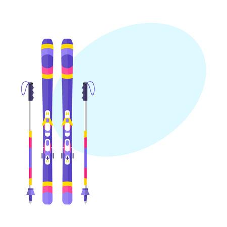 Paires de skis et de bâtons, bâtons, illustration vectorielle style plat avec un espace pour le texte. Vecteur plat ski et bâtons de ski, illustration colorée Banque d'images - 83553151