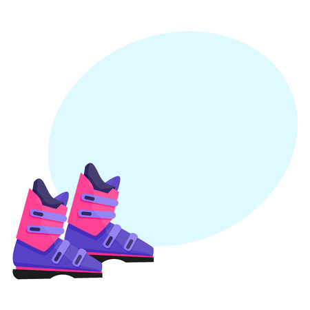 Pair of skiing, snowboarding boots, winter sport gear, flat style vector illustration. Flat vector skiing, snowboarding boots, colorful illustration with space for text.