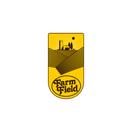 Logo aziendale verticale, badge, etichetta con campo, trattore, casa e torre dell'acqua su sfondo solare di sollevamento, illustrazione vettoriale. Logo a logo a due colori, badge, design con etichetta con agriturismo e campi Archivio Fotografico - 83553156