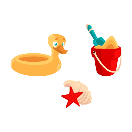 Summer vacation objects - toy bucket, shovel, rubber duck ring, sea shells, cartoon vector illustration isolated on white background. Summer vacation objects - bucket, shovel, duck ring, shells Illustration
