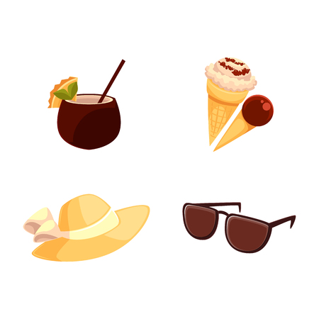 Beach summer vacation objects - straw hat, sunglasses, ice cream cones and coconut cocktail, cartoon vector illustration isolated on white background. Beach hat, sunglasses, ice cream, coconut drink Stock Vector - 83553163