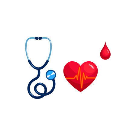 Vector realistic stethoscope, heart, pulse and blood drop set. Illustration isolated on a white background. First aid, ambulance, surgery medicine symbol. Sign of emergency healthcare doctor and nurse