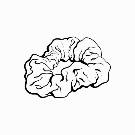 Gumowana, elastyczna tkanina pokryta gumką do włosów, modny dodatek z lat 90., szkic wektor ilustracja na białym tle. Kolorowa opaska do włosów pokryta tkaniną, opaska, gumka, popularna rzecz z lat 90.