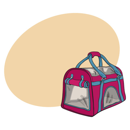 Pet travel fabric carrier, bag for transporting cats, dogs, sketch style vector illustration with space for text. Hand drawn red color pet carrier, transport, travel bag on white background